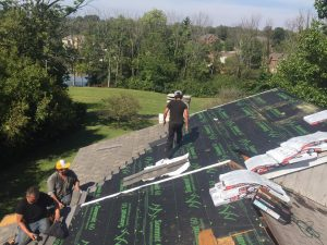 EMA Construction replacing a roof in Fairfield, a suburb of Cincinnati, OH.